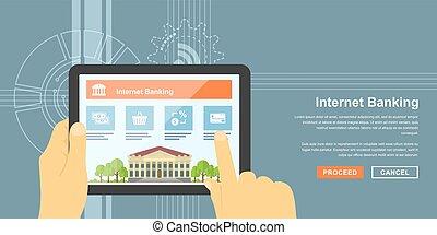 internet banking - flat style banner of internet banking...