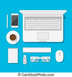 workspace - set of icons of modern business work flow,...