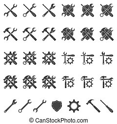 setup icons - set of black and white silhouette icons for...