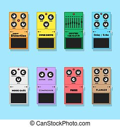 guitar pedals - set of guitar pedals effects: distortion,...