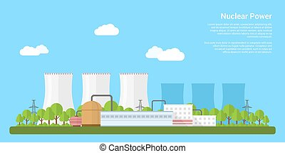 nuclear power - picture of nuclear power plant, flat style...