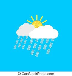 money rain - picture of clouds, sun in form of coins anf...