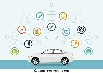 car infographic - infographic template with car and car...
