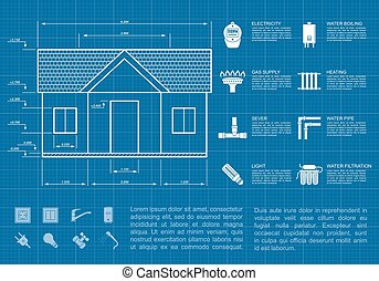 house infographic - infographic template with house sketch...
