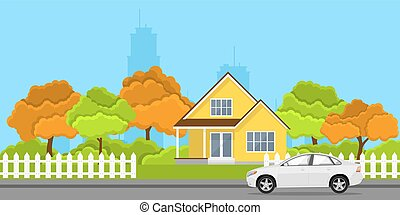 house and car - picture of a privat house and a car in front...