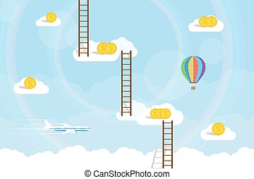 stairway to heaven - picture of clouds with dollar coins on...