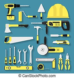 tools - set of repair and costruction tool icons, flat style...