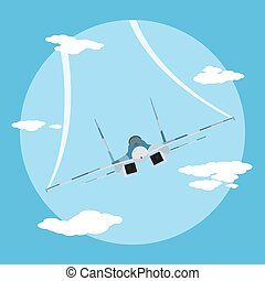 fighter plane - picture of flying fighter plane, flat style...