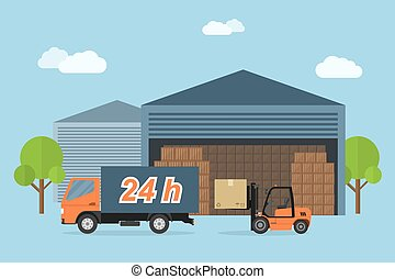 delivery service - Picture of delivery truck and forklift...