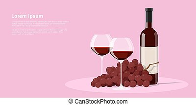 Wine and grapes - picture of wine bottle, two wine glasses...