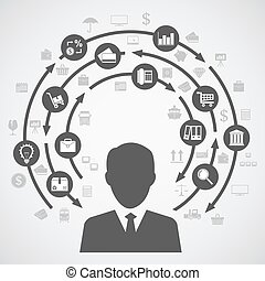 business process diagram - picture of a human silhouette and...