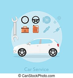 car service - picture of a car with icons of wheel, stearing...