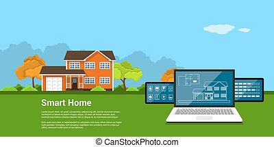 smart home concept - picture of computer tablet with house...