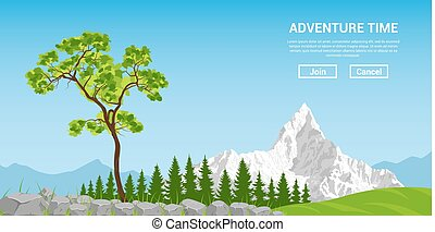 Landscape with tree and mountain