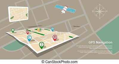 gps navigation map - Flat style design of web banner...