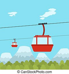 ropeway - Picture of red ropeway cabines with forest and...
