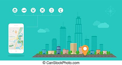 gps navigation banner - Flat style design of web banner...