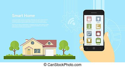 smart home - picture of human hand holding smartphone with...