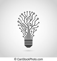 light bulb icon - black and white silhouette icon of a light...