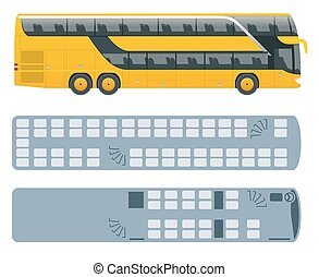 Isometric Double Decker Bus or intercity and plan of seating...