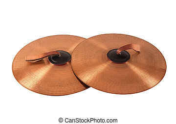 Close up of an prcussion cymbals with leather handle...