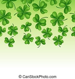 Saint Patricks Day seamless border. Green clover shamrock...