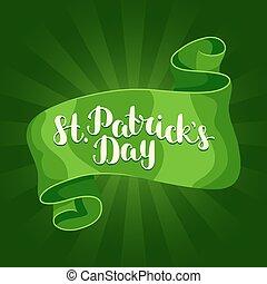 Saint Patricks Day greeting card. Green ribbon and...