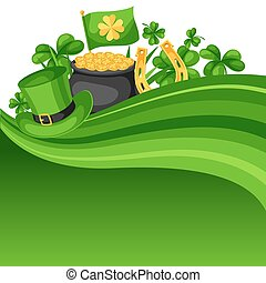 Saint Patricks Day card. Flag, pot of gold coins, shamrocks,...