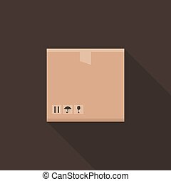 Box flat - Flat box on a brown background. Vector...