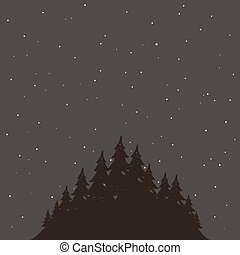 Forest - The woods at night. Vector illustration