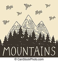 Mountain nature4 - The mountains and forest retro style....
