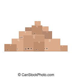 Mountain of boxes - A bunch of grey boxes. Vector...