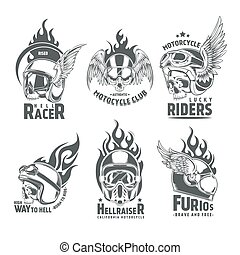 Fiery Motorcycle Skull Helmet Logotypes - Fiery motorcycle...
