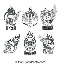 Fiery Motorcycle Skull Helmet Logotypes - Fiery motorcycle...