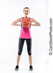 Female basketball player with ball