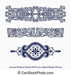 Ancient Chinese Pattern of Curve Spiral Border Flower