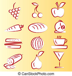 Red Food Icons Part 1 Vector set