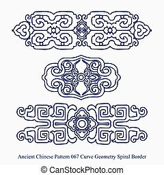 Ancient Chinese Pattern of Curve Geometry Spiral Border