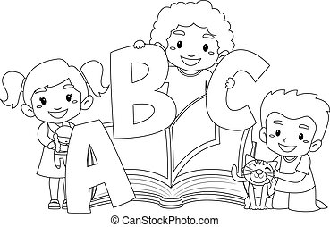 Vector Illustration of kid reading open book alphabets - young ...