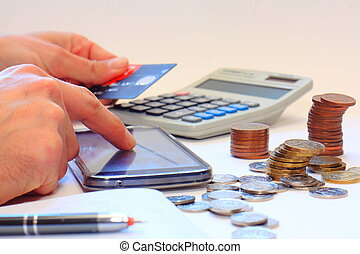 Internet banking using cell phone - Counting money using...