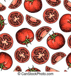 Vector tomato seamless pattern drawing. Isolated tomatoes...