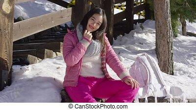 Young beautiful asian woman relaxing during winter - Young...