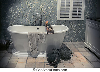 classic bathroom in country style - interior of classic...
