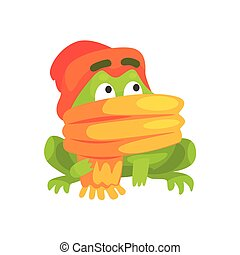 Green Frog Funny Character Wearing Scarf And Hat Childish Cartoon Illustration