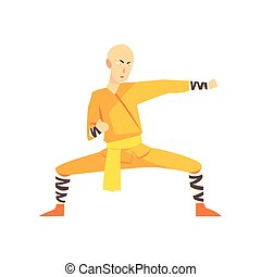 Bold Asian Shaolin Monk Kung Fu Martial Arts Fighter,...