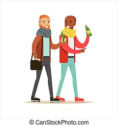 Happy Best Friends Having A Drink After Work , Part Of Friendship Illustration Series