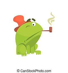 Green Frog Funny Character Smoking Pipe Childish Cartoon Illustration