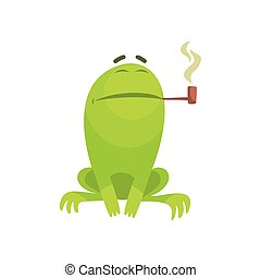 Green Frog Funny Character Smoking A Long Pipe Childish Cartoon Illustration