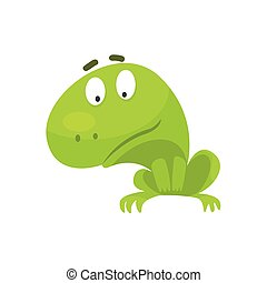 Curious Green Frog Funny Character Childish Cartoon...