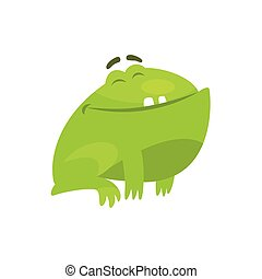 Satisfied Smiling Green Frog Funny Character Childish Cartoon Illustration